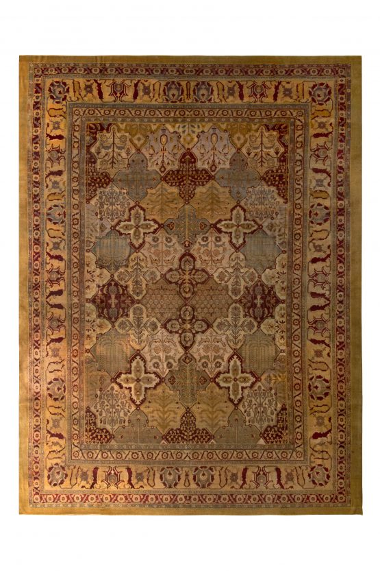 Hand-Knotted Antique Agra Rug Gold Red