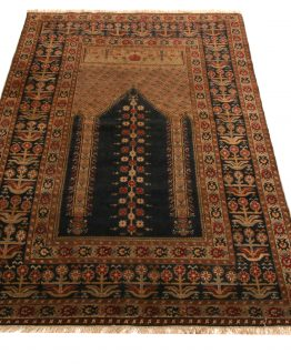 Antique Ghiordes Rug Brown Black Mihrab