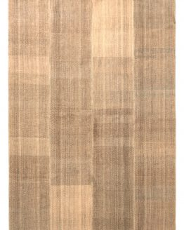 Mid-Century Kilim Beige Brown Striped Pattern