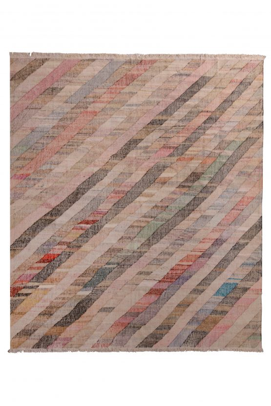 Contemporary Kilim Beige Pink Striped Pattern